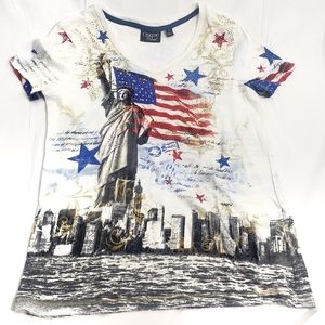 Onque Casual Women's Patriotic Short Sleeve Top